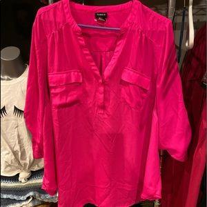 Torrid neon pink Georgette blouse